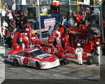Dale Earnhardt Jr. and the Budweiser Chevrolet making a pit stop during the Daytona 500